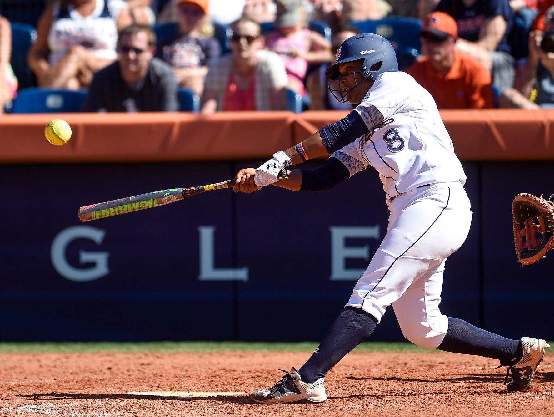 Jade Rhodes (8) hits her 19th home run of the season, sets a new school record. Louisiana-Lafayette vs Auburn: 2015 NCAA Softball Championships: Auburn, Ala. Super Regional on Friday, May 22, 2015. Zach Bland/Auburn Athletics