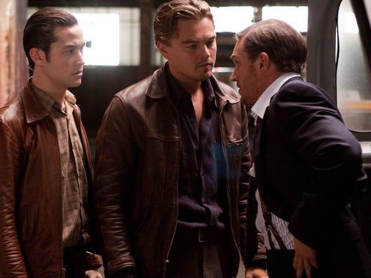 "Joseph Gordon-Levitt (from left), Leonardo DiCaprio, and Tom Hardy, appear in a scene from ""Inception."""