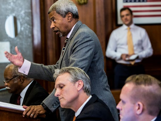 Memphis City Council attorney Allan Wade argues in Chancellor Jim Kyle's courtroom last November.