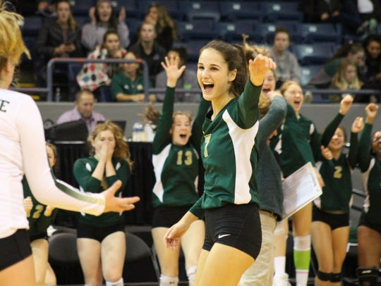 Notre Dame Prep's Natalie Risi celebrates one of her