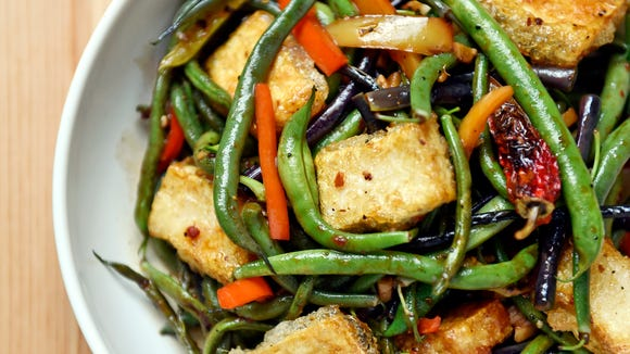 Green bean stir-fry with crispy tofu, made with beans, peppers and garlic from a CSA share from Prescott's Patch.