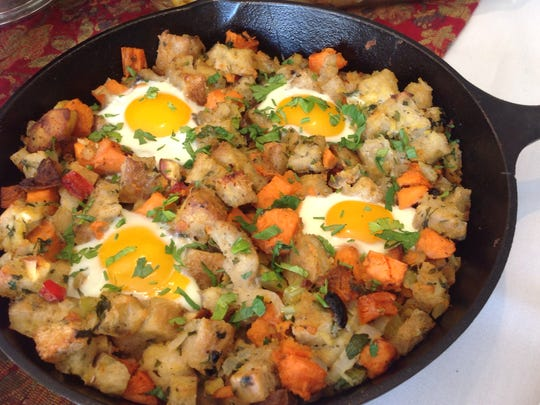 Post-Thanksgiving Hash and Eggs turns leftover sweet potatoes, stuffing and turkey into a brunch entree.