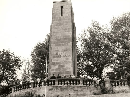 The obelisk to William Henry Harrison's tomb in North Bend was added in 1924.