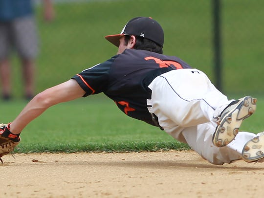 Justin Massielo of Pennsbury is unable to handle a