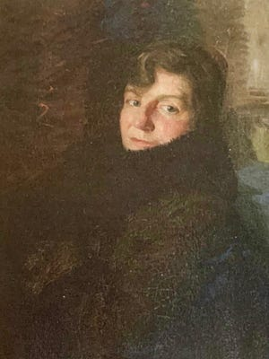 A portrait of Margaret Boroughs Adams, first president of the Austin Art League, painted by her husband, famed portrait artist Wayman Eldgridge Adams, who died at age 75 in 1959 in Austin. Margaret died at 82 in 1965. They married in 1918, after she co-founded the league in 1909.