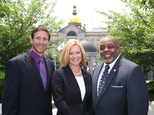 Operation College Promise, a national policy, research and education program that supports the transition and postsecondary advancement of U.S. veterans, is now part of Thomas Edison State College in Trenton. Operation College Promise staff, from left to right: OCP Outreach Specialist Frank Foy, Director Wendy Lang and Associate Director William Keyes.