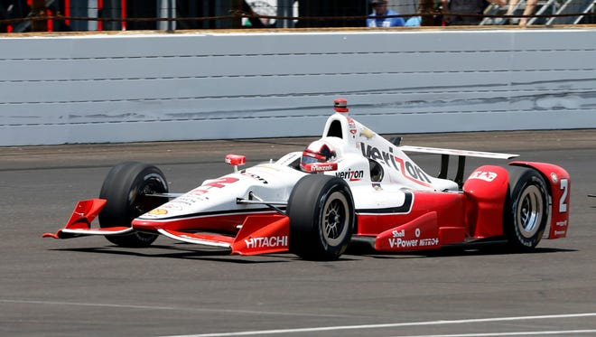 IndyCar Series driver Juan Pablo Montoya during the 2015 Indianapolis 500 at Indianapolis Motor Speedway.