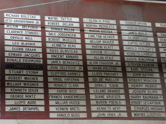 Employees names are included on a Roll of Honor in the Algoma Hardwoods plant owned by Masonite International Corp.