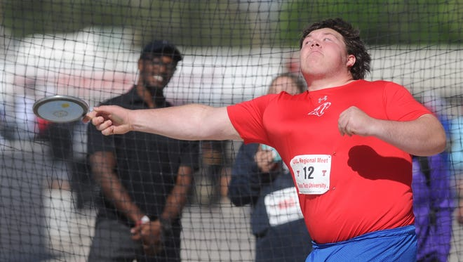 Cooper sophomore McCord Whitaker makes his final throw in the discus competition at the Region I-5A track and field meet Saturday, April 28, 2018 at Lowrey Field in Lubbock.