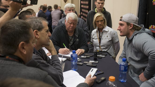 Ohio State defensive end Joey Bosa answers questions, December 28, 2015, during a Fiesta Bowl press conference at the Camelback Inn, 5402 E Lincoln Drive, Scottsdale.