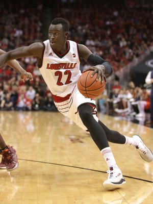 Louisville Deng Adel breaks for the basket against Virginia Tech. Adel lead all scorers in the game with 27 points. Jan. 13, 2018.