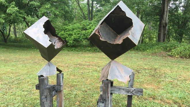 A sculpture by Scott Hickey is one of many on display at Summerhill Sculpture Center.