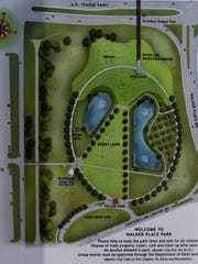 A map of Walker Place Park in Bossier City. The park
