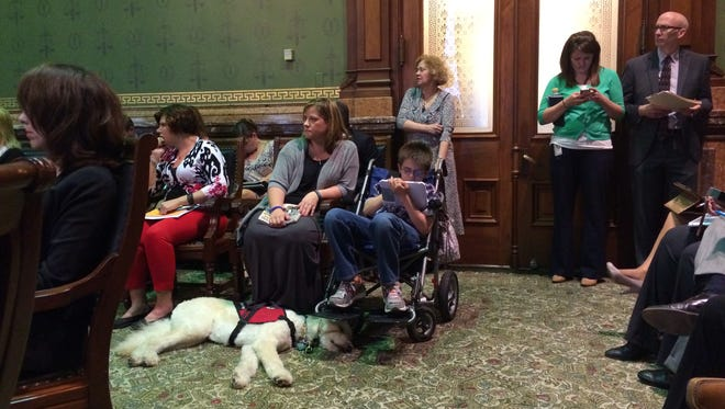 Karen Sales, her son William and service dog Maxie attend the committee hearing on a bill legalizing medical marijuana oil. William, 11, has epilepsy and would benefit from the oil, Sales said.