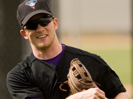 Andy Green,m a candidate for the Arizona Diamondbacks' managerial position, played for the team from 2004-06. He is shown here during spring training in 2006.