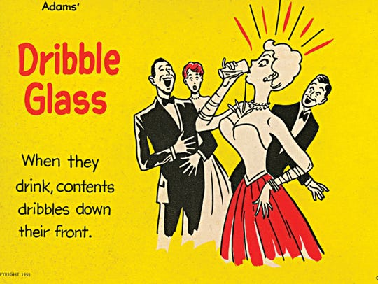 A 1955 advertisement for the Dribble Glass