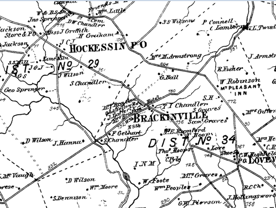A map shows the 19th-century location of the hamlet