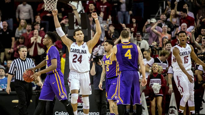 South Carolina Gamecocks forward Michael Carrera (24) celebrates against the LSU Tigers in the second half at Colonial Life Arena.
