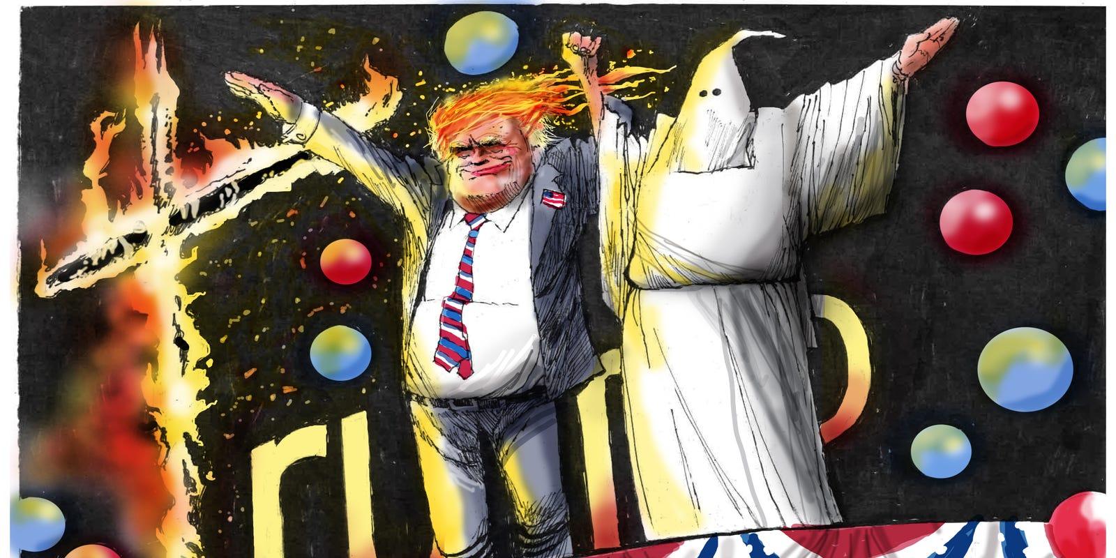 Today\'s toon: Donald Trump\'s KKK cross to bear