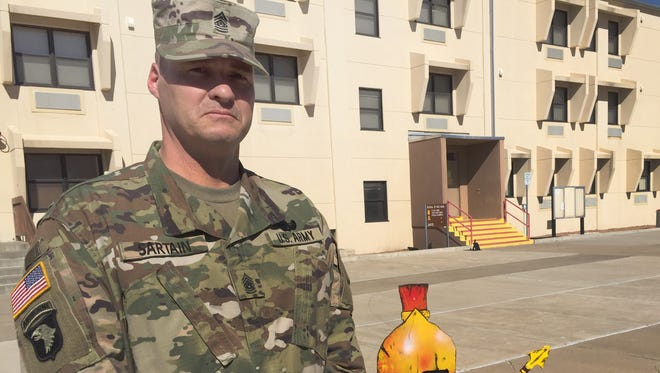 Command Sgt. Maj. Neil Sartain is the new senior enlisted leader for 2nd Battalion, 43rd Air Defense Artillery Regiment.