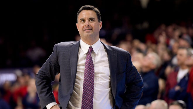 Dec 14, 2016: Arizona Wildcats head coach Sean Miller looks to the scoreboard during the second half against the Grand Canyon Lopes at McKale Center. Arizona won 64-54.