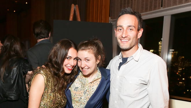 'Girls' writer Murray Miller, right, denies allegations made by actress Aurora Perrineau. He's seen here with Audrey Gelman, left, and 'Girls' creator and star Lena Dunham, who issued a statement in support of him.