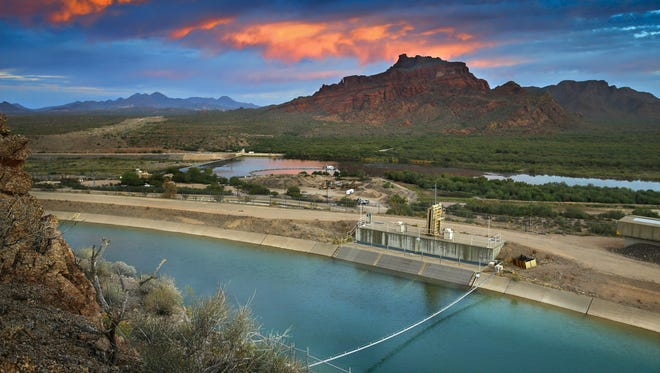 The Central Arizona Project (CAP) and Salt River Project (SRP)  Interconnect along with the Salt River and the Verde River just upstream Thursday, Oct. 24, 2015 in Mesa, AZ.