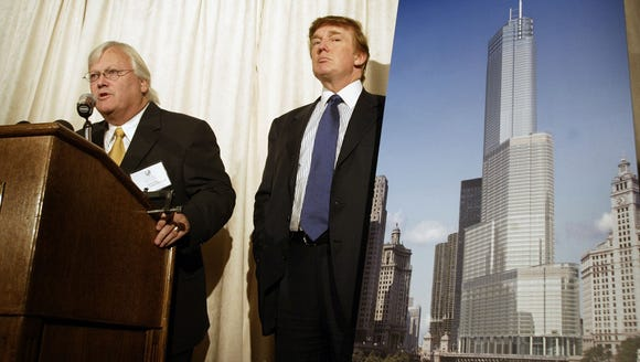 Donald Trump and architect Adrian Smith unveil an artist's