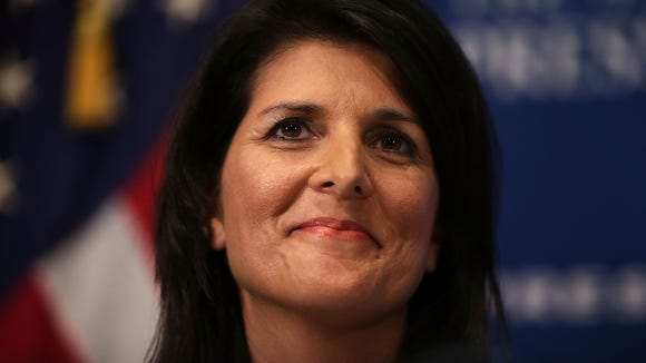 South Carolina Gov. Nikki Haley speaks at a luncheon at the National Press Club on Sept. 2, 2015, in Washington.