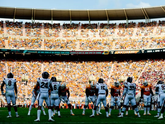 Shadows fall on players during the Tennessee Volunteers vs South Carolina Gamecocks game at Neyland Stadium in Knoxville, Tennessee on Saturday, October 14, 2017.