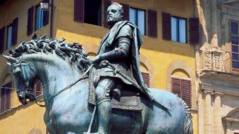 Low angle view of statue of Cosimo I, Piazza della Signoria, Florence, Italy