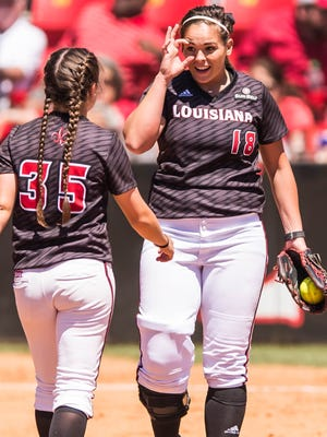 UL seniors Alex Stewart (18) and first baseman Haley Hayden (35) are expected to be two of the team's leaders in the 2017 season.