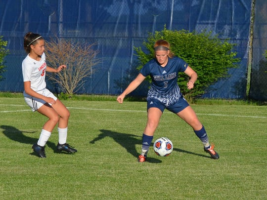 Gull Lake's Kaitlyn Stricker controls the ball during this regional semifinal contest.