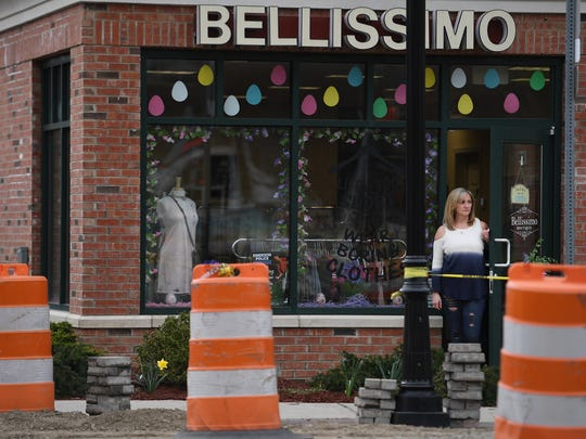 Bryana Paino at her store Bellissimo Boutique in Emerson on Wednesday. Construction of a major road widening project on Kinderkamack Road is negatively impacting her business.