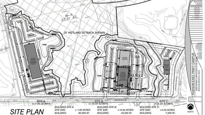 This proposed site plan, part of the city's purchase agreement with Fleet HQ Partners LLC, shows three building sites on the 45-acre property north of Boston Mills Road. City Council on Tuesday unanimously approved selling the land to Fleet HQ for $1.1 million.