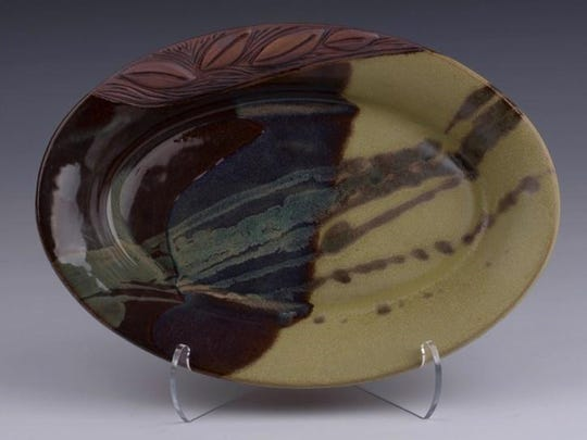 Ceramic plate by Lynn LaLuzerne of Lynn's Pottery, one of the sites on the Door County Potters' Guild Studio Tour on May 6-7.