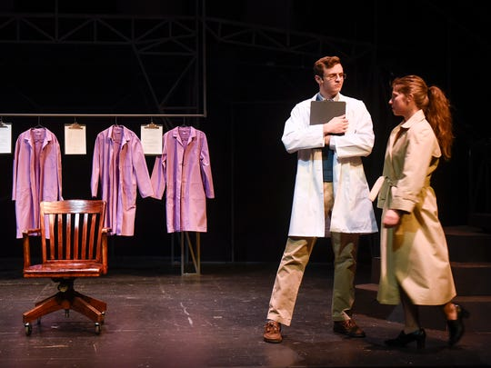 """Sarah Larson and Tom Richmond perform a scene during a dress rehearsal for """"Next to Normal"""" Tuesday, Nov. 7, at the College of St. Benedict in St. Joseph."""
