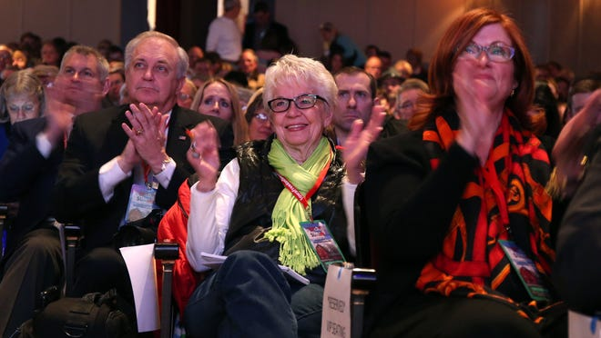Area Republican supporters applaud a speech during the Iowa Freedom Summit on Saturday at Hoyt Sherman Place in Des Moines.