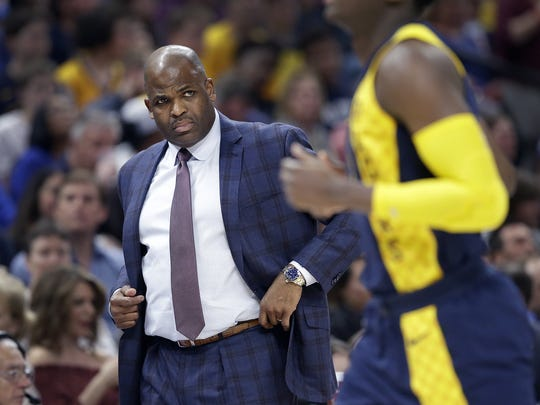 Indiana Pacers head coach Nate McMillan in the first half of their game at Bankers Life Fieldhouse on Thursday, April 5, 2018.