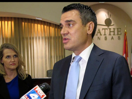 In this Aug. 22, 2017,  Rep. Kevin Yoder, R-Kan., speaks