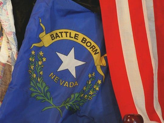 Photo illustration with Nevada flag.