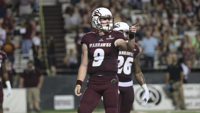 ULM backup quarterback Will Collins (9) came off the bench in the second quarter while directing three scoring drives against Texas State.