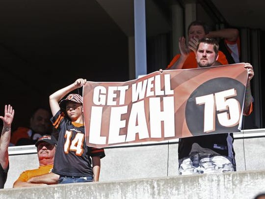 Fans show their support for Leah Still, daughter of Bengals defensive tackle Devon Still (75), at the Sept. 14 game.
