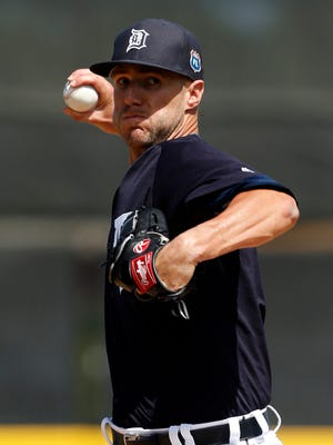 Mar 8, 2016; Detroit Tigers starting pitcher Shane Greene (61) pitches against the Tampa Bay Rays during the first inning at Joker Marchant Stadium.