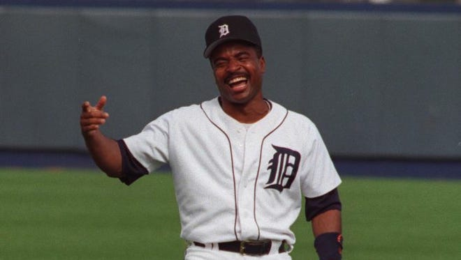 Detroit Tigers second baseman Tony Phillips laughs during spring training in Lakeland, Fla.