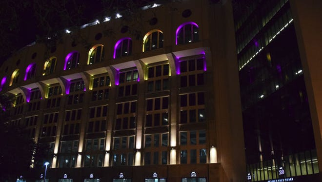 Tiger Stadium exterior and LED-lit scoreboards remain lit every night from 6 p.m. to 6 a.m.