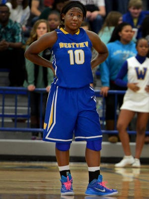 Westview's Alexus Taylor waits during a freethrow attempt during a Regional 7-AA semifinal game against Lexington High School, Wednesday, Feb. 25, 2015. Westview defeated Lexington, 44-29.