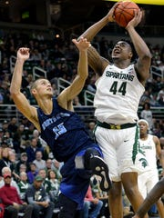 MSU freshman big man finished with 19 points and seven rebounds in his debut with the Spartans, a 93-69 exhibition win over Northwood.