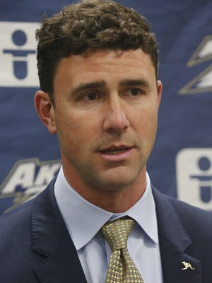 Tom Arth, the head coach of the University of Akron football team speaks during a signing day press conference on the campus Wednesday, Dec. 18, 2019 in Akron, Ohio.