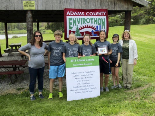 Adams County Middle School Envirothon Grand Champions: Students from eight local schools gathered recently to compete in the annual Adams County Middle School Envirothon at the East Berlin Fish & Game. The grand champions were the Raging Wildfires from Fairfield, from left, Allison Johnston, Zack Sherman, Jasmine Grams, Erin Stephens, Claudia Rudisill, Emma Burgess and Kathy Serfass. The Madtoms from Fairfield placed second and the Bald Eagles from Bermudian Springs placed third.